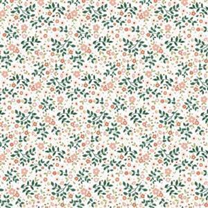 Poppie Cotton Goose Creek Gardens Mix On White Fabric 0.5m