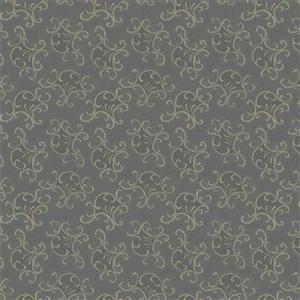 Country Soiree Flourish on Dark Silver Fabric 0.5m