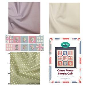 Vintage Queens Portrait Birthday Quilt Kit (45 x 45 Inches): Instructions, Fabric Panel & Fabric (2.5m)