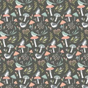 Woodland Songbirds in Gray Fabric 0.5m