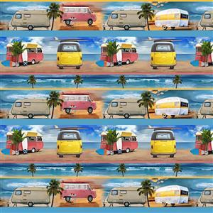 Retro Campers Surf Beach Small Caravan Fabric 0.5m