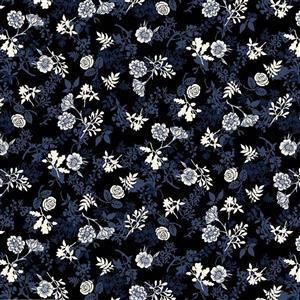 Autumn Leaves on Black Fabric 0.5m
