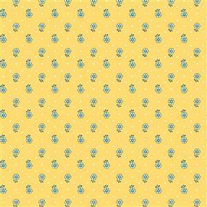 Liberty Emporium Collection Merchant Bright's Kingly Sprig Mustard Fabric 0.5m