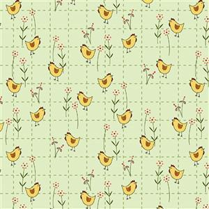 Henry Glass Backyard Happenings in Green Cross Chicken Fabric 0.5m