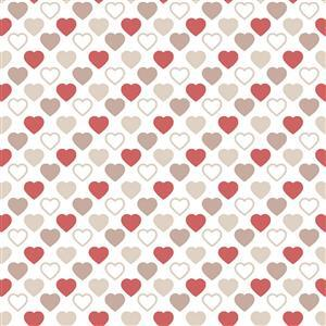 Quilters Basic Harmony Red & Stone Hearts Fabric 0.5m
