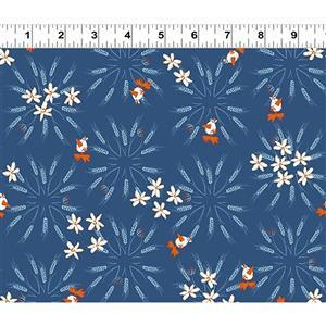 Blue Goose Dark Blue Wheat Fabric 0.5m