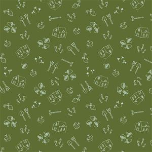 Gardening Motifs On Green Fabric 0.5m