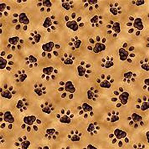 Literary Kitties Kitten Paw Prints on Tan Fabric 0.5m
