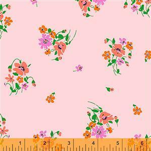 Posy On Pink Fabric  0.5m