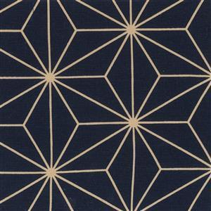 Sashiko Geometric Navy Gold Extra Wide Backing Fabric 0.5m (280cm width)
