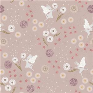 Lewis & Irene Fairy Clocks Fairy Floral On Pink Fabric 0.5m
