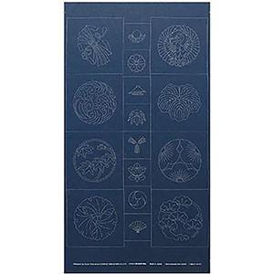 Sashiko Tsumugi Preprinted Kamon 19 Indigo Blue Fabric Panel 108x61cm