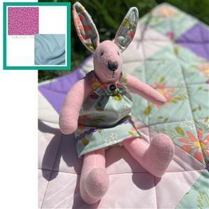 Debbie Harris' Blue Rosie Rabbit Toy Kit: Instructions, FQ (2pcs), Fabric (0.5m) & Skein