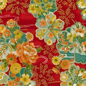 Sevenberry Gold Metallic Traditional Japanese Flowers Red Fabric 0.5m