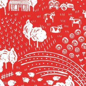 Moda On The Farm - White Landscape - Red Fabric 0.5m