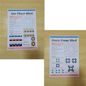 Emma Bradfords American Hand Piecing Star Flower Block &  Freeze Frame Block Instruction Bundle
