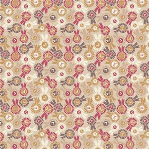 Lewis & Irene Farley Mount Rosettes On Natural Fabric 0.5m