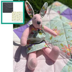 Debbie Harris' Grey Rosie Rabbit Toy Kit: Instructions, FQ (2pcs), Fabric (0.5m) & Skein