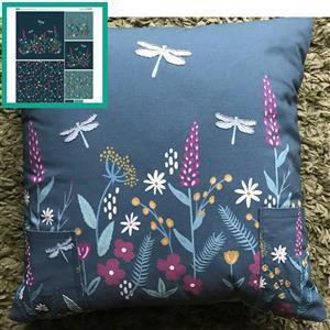 Scandi Floral Teal Cushion Bundle: Fabric Panel & Fabric (0.5m)