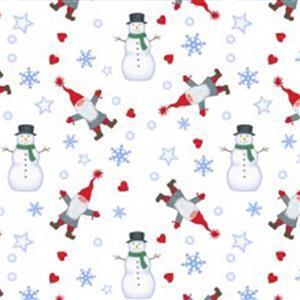 Lewis & Irene Tomten & Friends Snowmen On White Fabric 0.5m