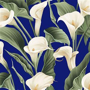 Colorido Peace Lilies on Blue Fabric 0.5m