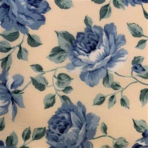 Country Floral Blue Peony on Cream Fabric 0.5m Exclusive
