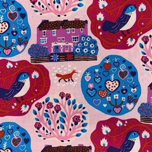 Homeward in Pink Nature Fabric 0.5m