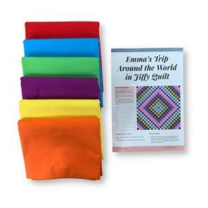 Rainbow Around the World Quilt Kit (87 1/2 x 87 1/2 inches): Instructions & Fabric (9m)