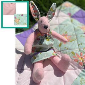 Debbie Harris' Pink Rosie Rabbit Toy Kit: Instructions, FQ (2pcs), Fabric (0.5m) & Skein