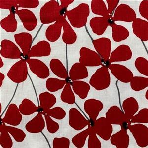 Red Alert in Red on White Floral Field Fabric 0.5m