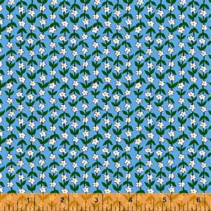 Posy Mini Flower On Blue Fabric 0.5m