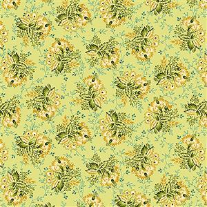Henry Glass Tarrytown Stripey Bouquet on Linden Green Fabric 0.5m