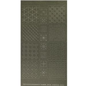 Sashiko Tsumugi Preprinted Geo 20 Dark Green Fabric Panel 108x61cm