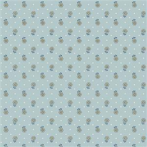 Liberty Emporium Collection Discovery Kingly Sprig Turquoise Fabric 0.5m