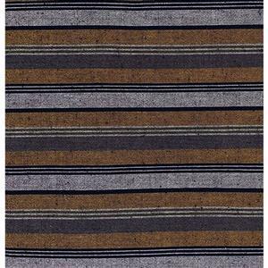 Shimamomen Striped Yarn Dyed Yellow Brown Grey  Fabric 0.5m