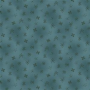 Michael Miller Born to Sew Needles on Teal Fabric 0.5m
