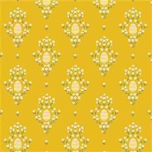 Riley Blake Easter Egg Hunt Royal Egg Mustard Fabric 0.5m