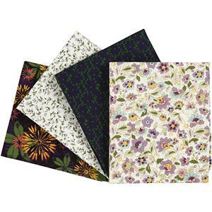 Purple Floral Fat Quarters Pack of 4