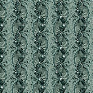 Henry Glass Tarrytown Twisted Ribbon on Teal Fabric 0.5m