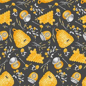 Show Me the Honey in Grey Honeycomb Hive Fabric 0.5m