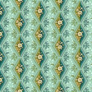 Henry Glass Tarrytown Diamond on Mint Fabric 0.5m