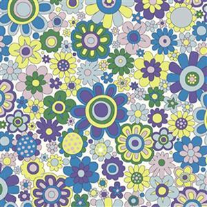 Liberty Carnaby Collection Paradise Petals Purple and Yellow Fabric 0.5m
