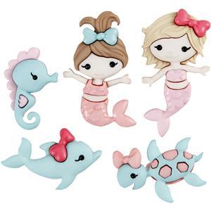 Mermaid Buttons Pack of 6