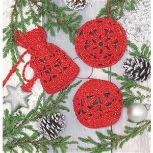 Christmas Tree Decorations in Red Crochet Kit