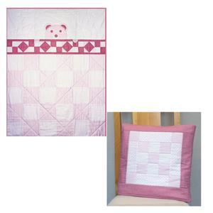 Village Fabrics Pink Teddy Bear Quillow