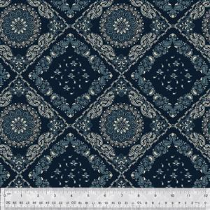 Kingston Tile on Ebony Fabric 0.5m