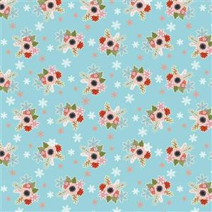 Poppie Cotton Snuggle Up Buttercup Flowers In Snow on Blue Fabric 0.5m Sewing Street exclusive