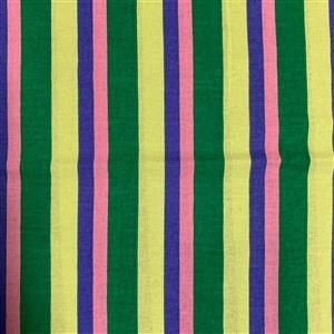 Pink and Blue Stripes on Green Fabric 0.5m