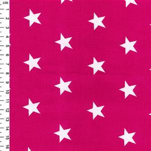 Rose & Hubble Cotton Poplin Cerise Stars Fabric 0.5m