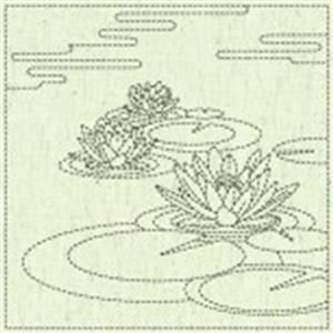 Sashiko Lilly Pad Fabric Panel 30 cm x 30 cm (12